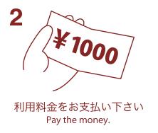 2. 利用料金をお支払い下さい-Pay the money.