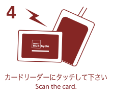 4. カードリーダーにタッチして下さい-Scan the card.